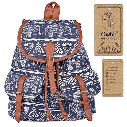Owbb® Damen Mädchen Marineblau Leinwand White Elephant Stripe Drucken Rucksack/ Kinder Schulrucksäcke