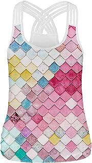 Pandolah Women's 3D Printed Crisscross Strap Back Workout Sleeveless Shirt Vest Tank Tops