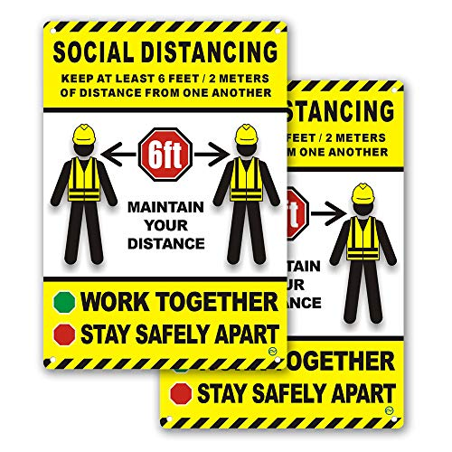 Construction Signage for Indoor or Outdoor Use - 2 Signs, Hard Plastic Durable Plastic with Holes, Avoid Contact, Work Together, Stay Safely Apart, Maintain Distance, Safety 10 x 7 (Social Distancing)