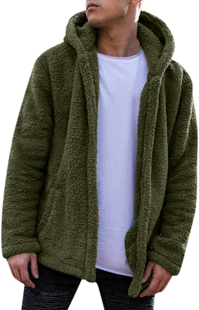FORUU Mens Hooded Jacket Fuzzy Sherpa Fleece Warm Casual Solid Fashion Simple Open Front Cardigan Winter Coat Outwear