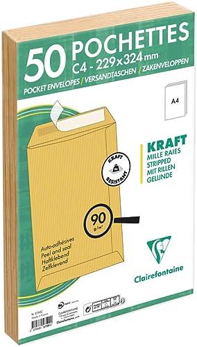 Clairefontaine 5750C - Un paquet de 50 pochettes en kraft milleraies brun auto-adhésives 22,9x32,4 cm 90g sous film