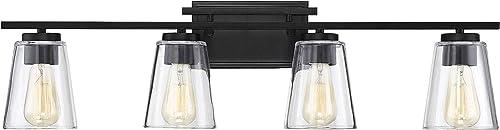 "2021 Savoy House 8-1020-4-BK popular Calhoun 4-Light Bathroom Vanity Light in a Black Finish with Clear Glass (32"" discount W x 9"" H) online sale"