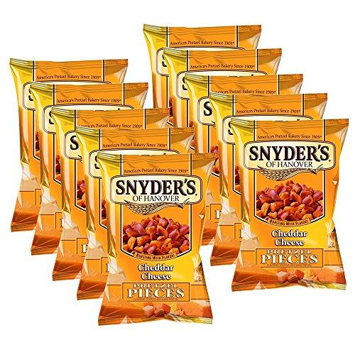10er SET Snyder's of Hanover Cheddar Cheese 125 g - Brezelstücken mit Cheddar Käse