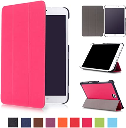 Asng Samsung Galaxy Tab S2 8.0 Case - Slim Lightweight Smart-Shell Stand Cover Case with Auto Wake/Sleep for Samsung Galaxy Tab S2/S2 Nook 8.0 inch Tablet (SM-T710/T715/T713/T719) (Rose red)