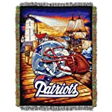 Officially Licensed NFL New England Patriots 'Home Field Advantage' Woven Tapestry Throw Blanket, 48' x 60', Multi Color