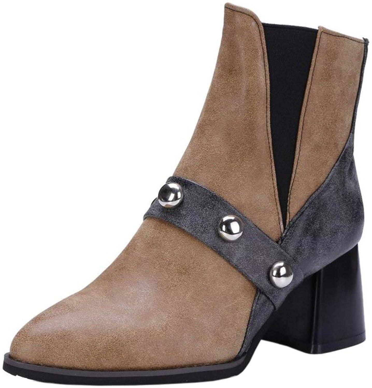 Unm Women Autumn Winter Dress shoes Slip-on Short Bootie Boots