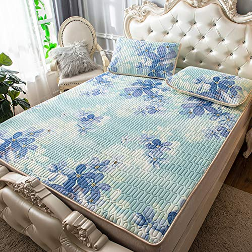 GGYDD Three-Piece Ice Silk Mattress Toppers,Quilted Fitted Mattress Sleeping Pad Foldable Washed Bed Sheets Best-Bedding in Summer-i 180x200cm(71x79inch)