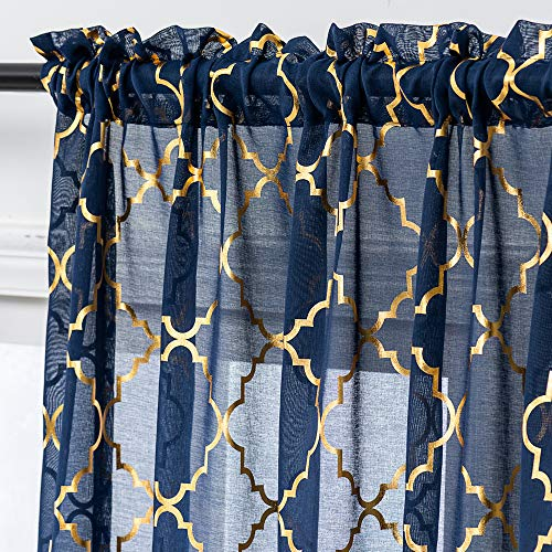 Navy Blue and Gold Sheer Curtains 84 Inch Length Foil Geometric Trellis Pattern Window Treatment Set for Bedroom 2 Panels