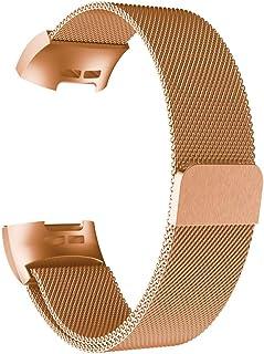 F/ür Fitbit Charge 3 Edelstahl Adapter,Colorful Connector Uhrenadapter Uhrband Metallschlie/ße Strap Uhrenarmband Lederarmband Erstatzband Metal Clasp Uhr Band Watchband f/ür Fitbit Charge 3 Gold