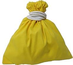 11号帆布 硬貨集金用巾着袋 両絞りタイプ コイン袋 コインケース 小銭入 KC-2525R (レモン)
