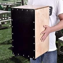Cajón de Percusión con Funda, Caja Flamenca para Adultos Cajón Flamenco Rock de Cuerpo Madera de Abedul Natural Tapa Negra con Pies de Goma, 31 x 30 x 48cm
