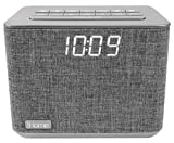 iHome Bluetooth Dual Alarm FM Radio Clock with Speakerphone and USB Charging, - Grey