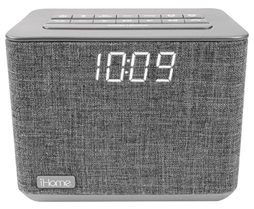 iHome iBT232 Bluetooth Dual Alarm Clock FM Radio with Speakerphone and USB Charging -Gray (Newest Model)