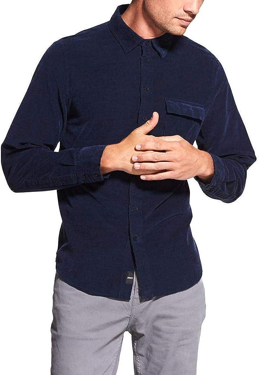 DKNY Mens Corduroy Long Sleeves Button-Down Shirt