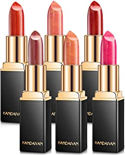 Wotryit 6 Colors Metallic Glitter Lipstick Waterproof Long Lasting Hydrating Satin Lipstick Set,Mother's Day Valentine's Day Gifts