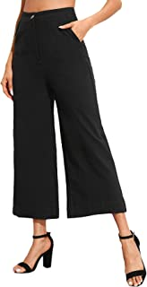 SweatyRocks Women's Casual Solid Button Front Wide Leg Crop Pants Capris with Pockets
