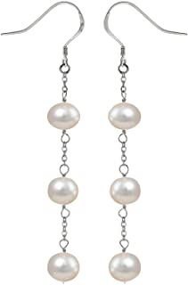 JFUME Earrings for Women Freshwater Pearls with 925 Silver Hook Drop Dangle Earrings for Women Long Chain