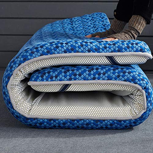 ZQ&QY Topper De Colchón De Látex Plegable, Espesar Respirable Espuma De La Memoria Colchones De Futon De Piso Piel-amistoso Dormir Colchoneta Tatami-azul-10cm 150x190cm(59x75inch)