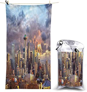 Ahuimin Microfiber Beach Towels, USA,Seattle Skyline Dramatic Sunset, 55 x 27.5 Inches Super Absorbent Lightweight Microfiber Bath Towels for Travel Pool Gym