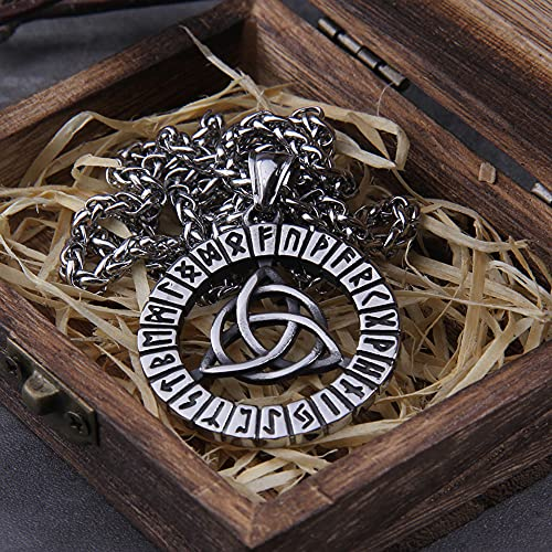 Vikingos Nórdicos Colgante De Vikingo De Acero Inoxidable Nudo Celta Collar De Amuleto De Runas De Odin Collar De Amuleto Escandinavo con Caja De Madera Valhalla,70cm