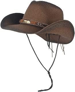 LiWen Zheng New Men Women Sunscreen Western Cowboy Hat Trendy Wide Brim Fedora Jazz Hat For Sunbonnet Summer Sun Beach Hat Size 56-58CM