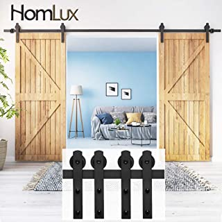 HomLux 10ft Double Door Heavy Duty Sliding Barn Door Hardware Kit -Smoothly and Quietly - Simple and Easy to Install - Fit 1 3/8-1 3/4