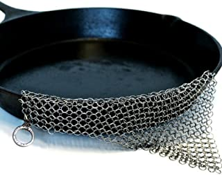 """Stainless Steel Cast Iron Cleaner 8""""x6"""" 316L Chainmail Scrubber Pan Scraper Cookware Accessories Pan Dutch Ovens Plastic S..."""