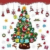 DazSpirit Feltro Albero Natale,3.28Ft Albero Di Natale In Feltro Per Bambini,DIY Albero Natale Feltro Con 32 Ornamenti Staccabili,Regali Di Natale Per Bambini,Decorazioni Natalizie Da Parete Per Porte