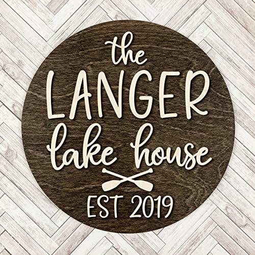 Ced454sy Custom Naam Lake House Teken Met Opgericht Jaar Gepersonaliseerde Lake House Muurdecoratie Ronde Hout Lake House Teken Met Kano Paddles