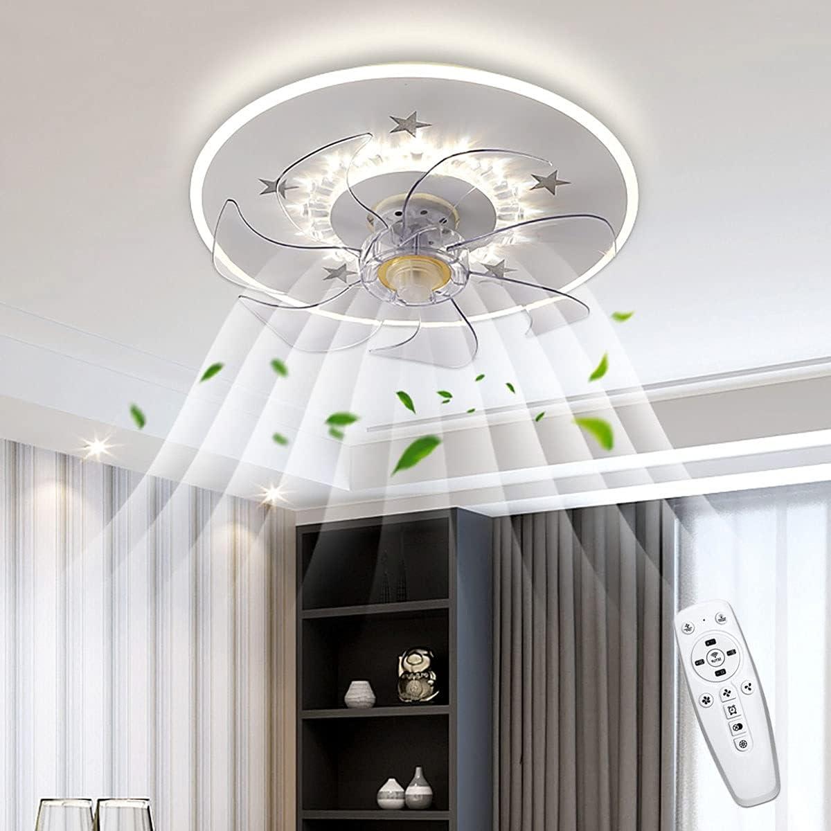 WRQING 50W Ventilador de Techo con LED Lámpara y Control Remoto Temporizador Ventilador de Techo con Luz Regulable 3 Velocidad del Viento Fan Iluminación para Guardería Kinderkamers