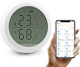 JINQII Zigbee Termómetro higrómetro Sensor inalámbrico WIFI Temperatura y Humedad Detector con Alarma Inteligente, Monitor LCD de Humedad Temp para el Hogar