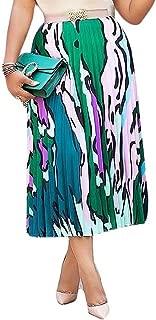 ThusFar Womens Graffiti Color Block Skirts Cartoon Printed Elastic Waist Swing Midi Skirt