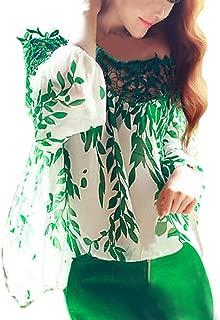 EFINNY Women Hollow Chiffon Blouse Leaf Printed Casual Tops Shirts