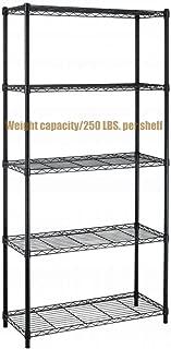 Koonlert@shop Durable Constructed 5-Tier Steel Shelving Storage Organizer Adjustable Commercial Grade Wire Shelf - Black Finish #1165b