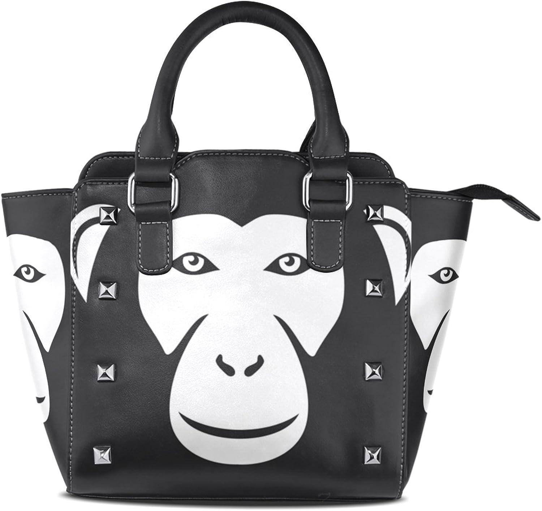 My Little Nest Women's Top Handle Satchel Handbag Black and White Monkey Ape Ladies PU Leather Shoulder Bag Crossbody Bag