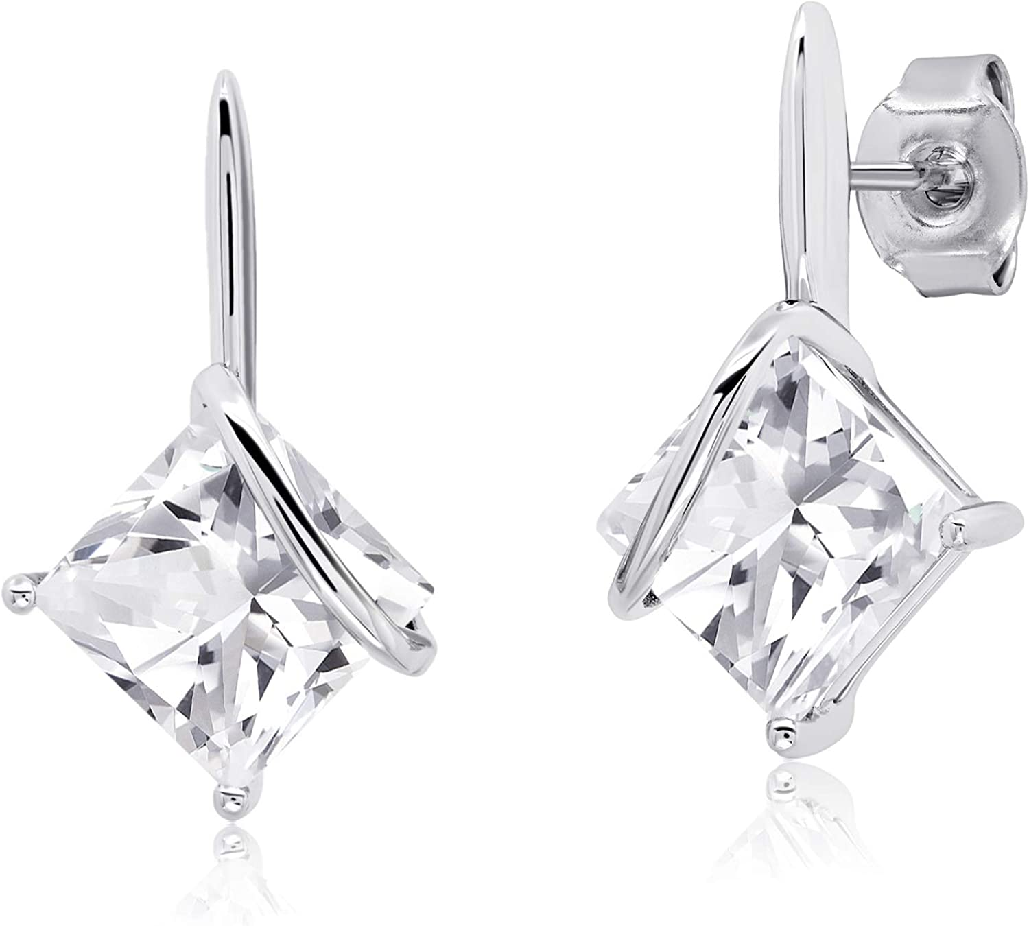 7x7mm Square-Cut Popular brand in the world Gemstone Drop Earrings Sacramento Mall Silver in Sterling 925