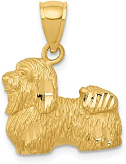 14k Yellow Gold Shih Tzu Pendant Charm Necklace Animal Dog Fine Jewelry Gifts For Women For Her