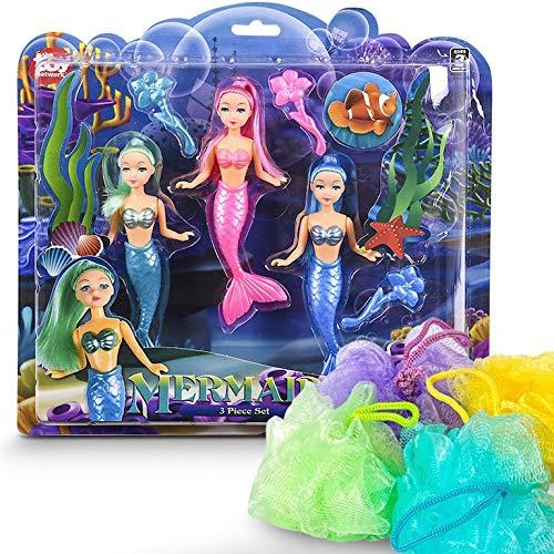 7 Piece Mermaid Doll and Bath Sponge Set