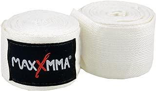 "MaxxMMA 180"" Nylon Poly Hand Wraps, Color Choice Black Red Blue or White (White)"