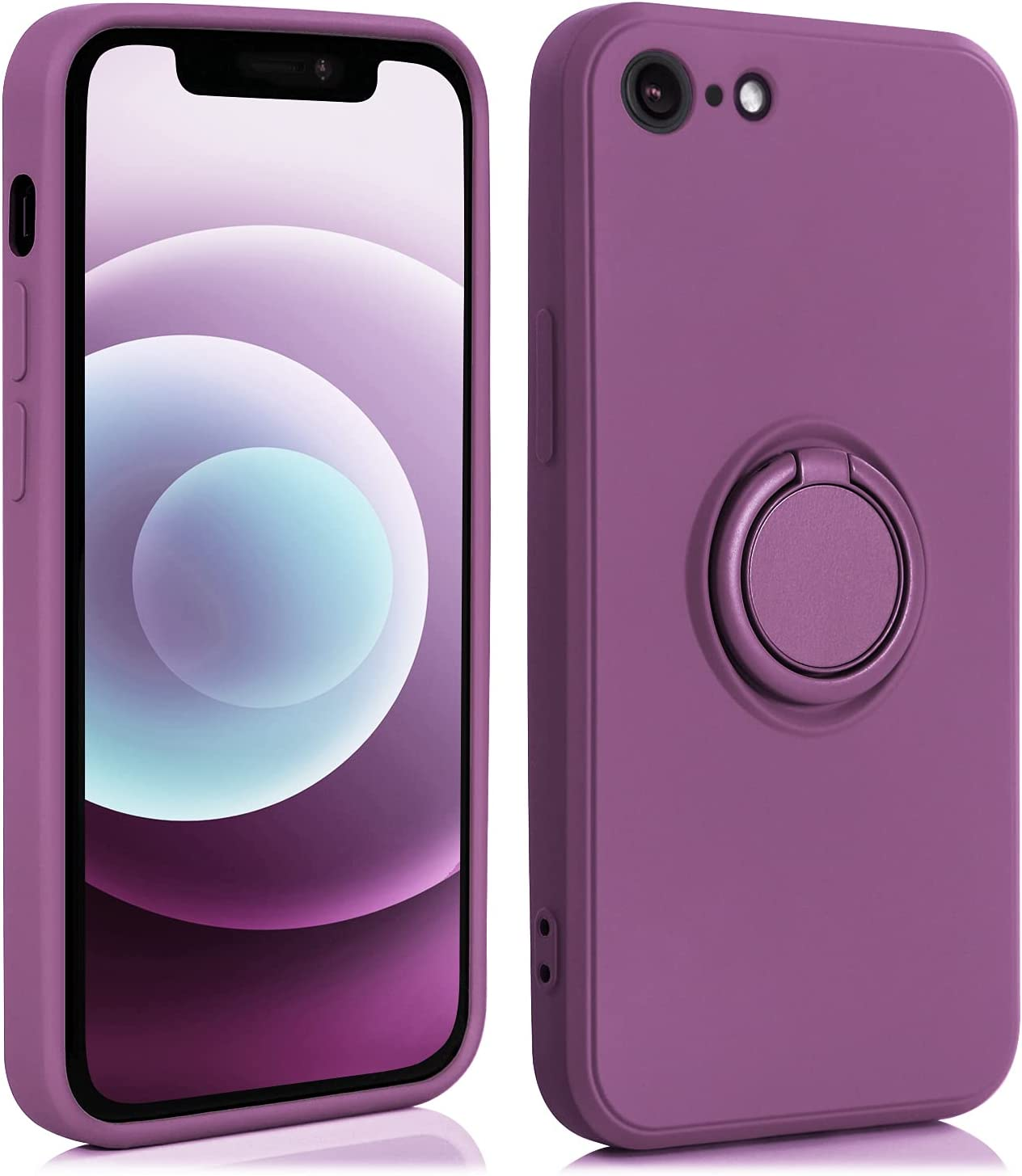 AslabCrew iPhone SE 2020 Case with 360°Ring Holder Kickstand, Shockproof Bumper Soft TPU Protective Smartphone Cover, Purple