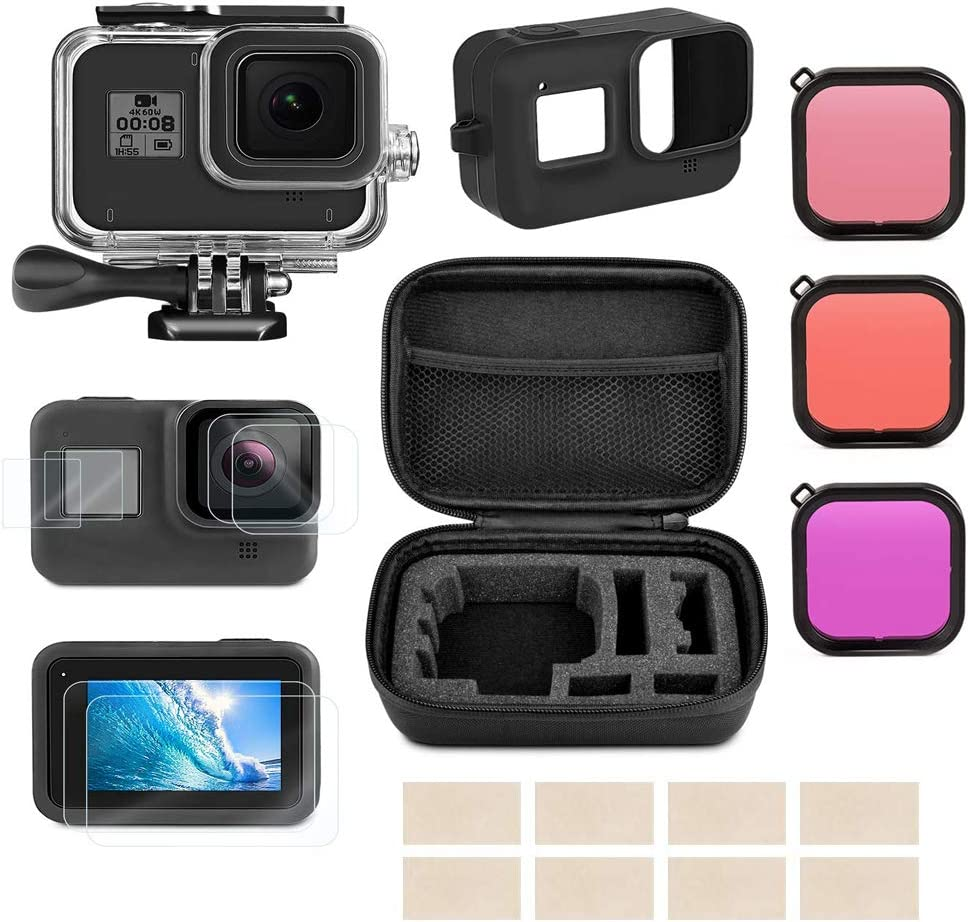 Linghuang Kit de Accesorios para GoPro Hero 8 Black Funda Impermeable+Película Protectora de Pantalla de Vidrio Templado+Carcasa de Silicona+Bolsa de Almacenamiento+Kit Antiniebla+Lentes Filtrantes