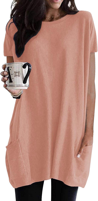 SENSERISE Womens Long Sleeve/Short Sleeve Tunic Tops for Leggings Lightweight Casual Sweatshirt with Pockets