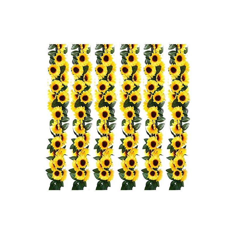 silk flower arrangements 7.5ft/pc artificial sunflower garland with 60pc sunflower heads silk flower ivy vine garland sunflower decor for home kitchen wedding arch baby shower decor