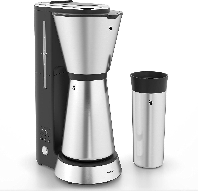 WMF Kitchenminis Aroma Cafetera de goteo con termo, cafetera de filtro para hasta 5 tazas de café, vaso térmico 350 ml, programa antical, indicador agua, display digital, filtro extraible , 760 W