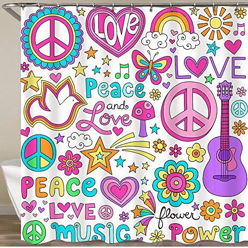 COFEIYISI Duschvorhänge Friedensliebe & eine Taube Flower Power Groovy Psychedelic Notebook Doodles Set mit Schmetterling Wasserdicht Bad Vorhang Polyester Stoff mit 12 Haken 180x180 cm