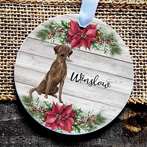 Alicert5II Aangepaste hond ornament chocolade Labrador hond gepersonaliseerde hond kerstbal ornament hond geschenk vakantie gepersonaliseerde ornament