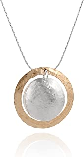 Stera Jewelry Two Tone Hand Hammered Circle and Disc Necklace 925 Silver & 14k Gold Filled Pendant, 18