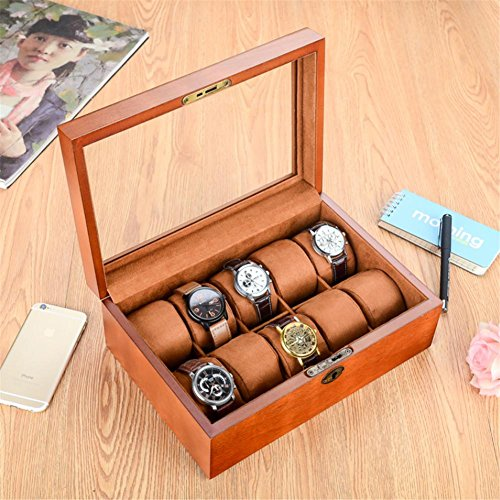 Le coffre en verre d'affichage de montre de montre de dessus en verre de cru vintage tient 10+ montres avec les oreillers mous réglables et le dégagement élevé pour de plus grandes montres