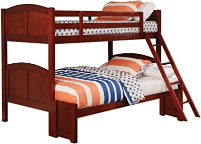 Benjara Transitional Wooden Twin Over Full Bunk Bed with Inclined Ladder, Brown