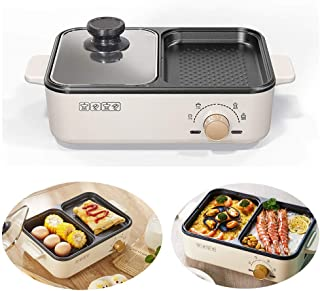 2 in 1 Electric Shabu Shabu Hot Pot with BBQ Grill, Frying Egg Pan for Breakfast, Multi-Function Electric Porridge Pot, Ho...